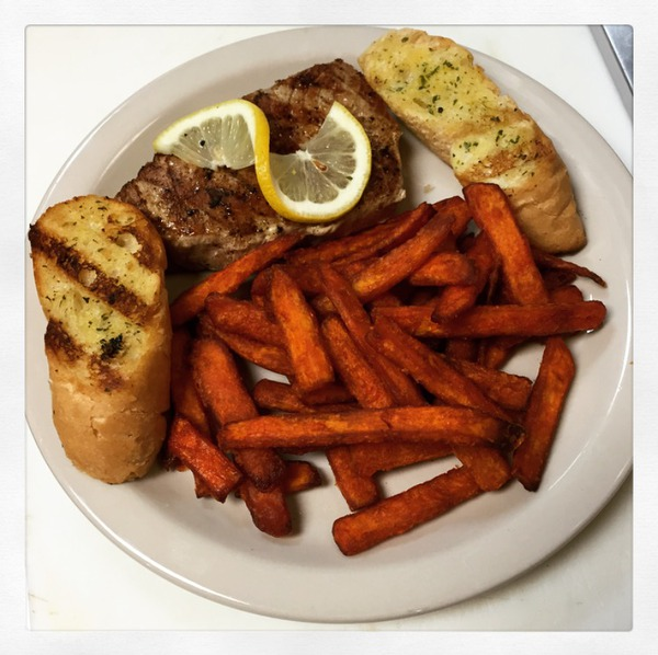 Tuna Dinner with sweet potato fries